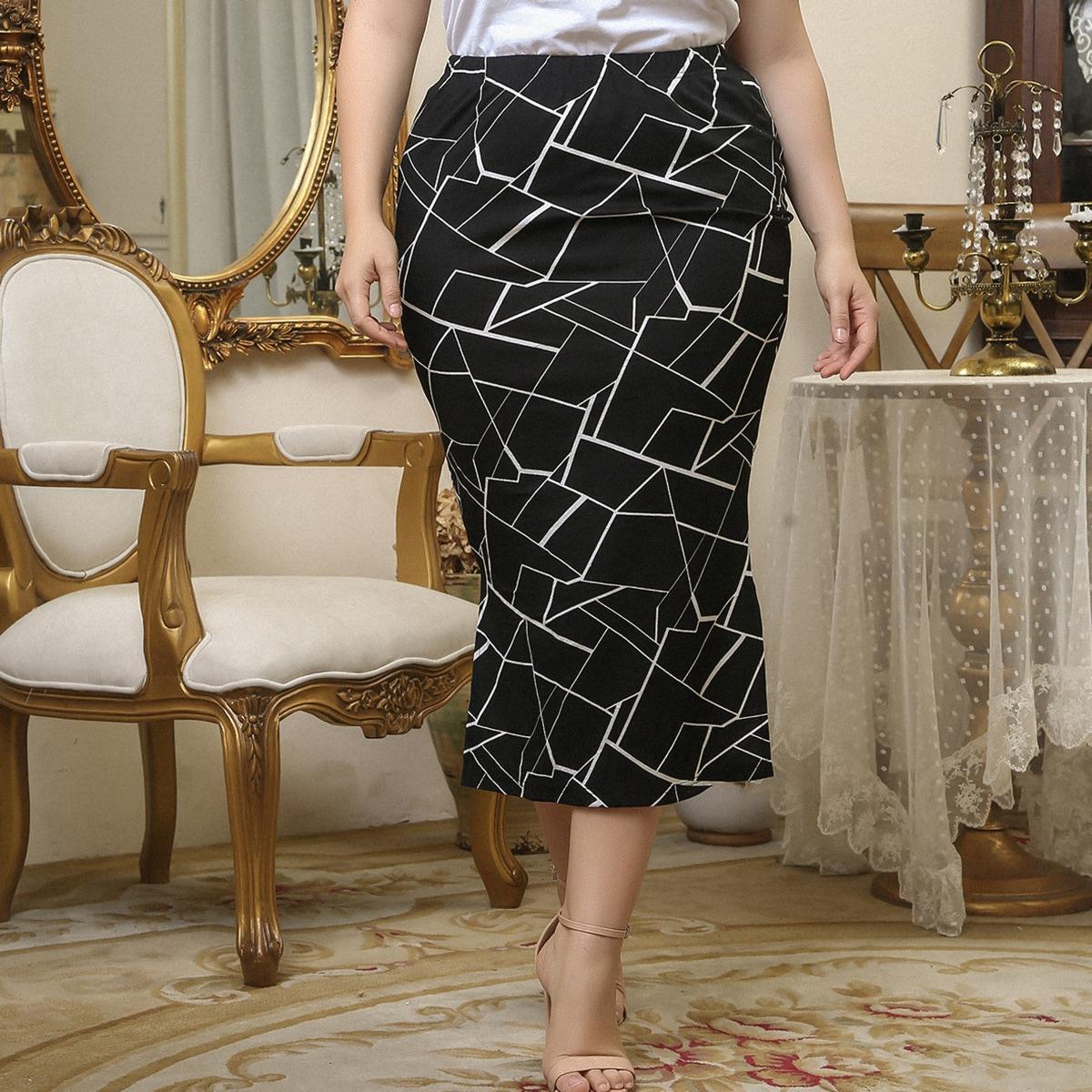 Falda de lápiz bajo con abertura con estampado geométrico
