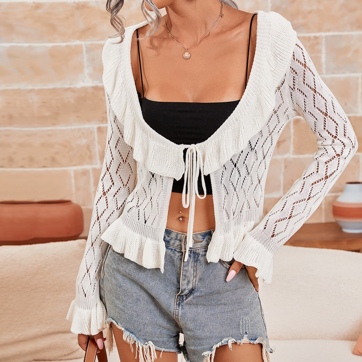 Pointelle Knit Flounce Sleeve Knot Front Cardigan