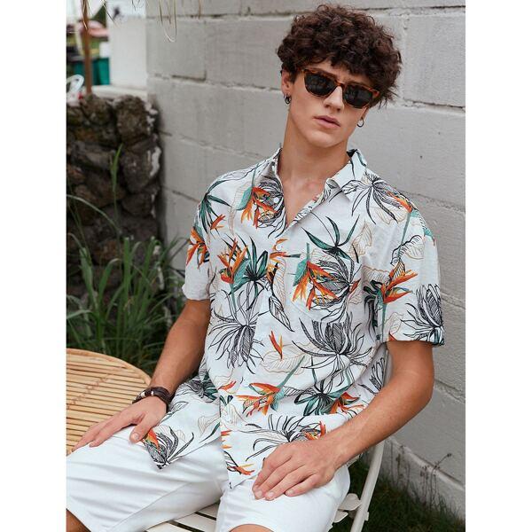 Men Random Plants Print Shirt, Multicolor