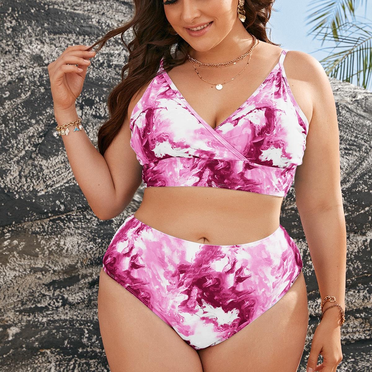 Plus Abstract Fluid Pattern High Waisted Bikini Swimsuit