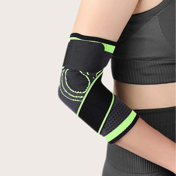 1pc Breathable Sports Elbow Protection Bandage, Green
