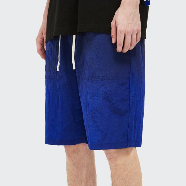 Men Tie Waist Slant Pocket Shorts, Royal blue