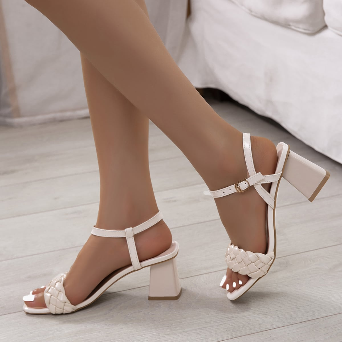 Minimalist Braided Chunky Heeled Sandals, SHEIN  - buy with discount