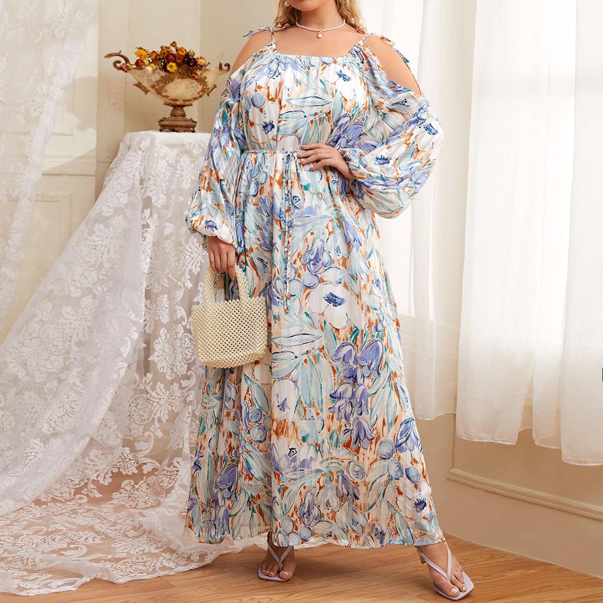 Plus Allover Floral Cold Shoulder Pleated Dress