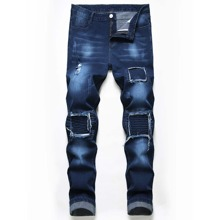 Guys Washed Ribbed Knee Jeans