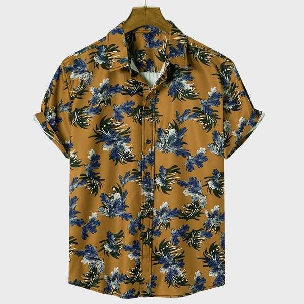 Men Random Plants Print Button Up Shirt, Multicolor