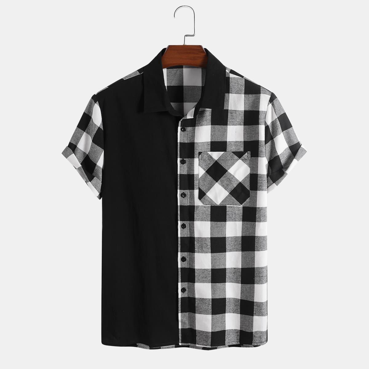 Мужской Рубашка в клетку на пуговицах SheIn smshirt25210524741