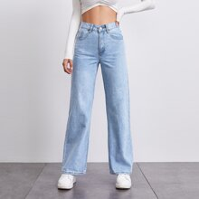 Stone Wash Middle-Waisted Straight Jeans