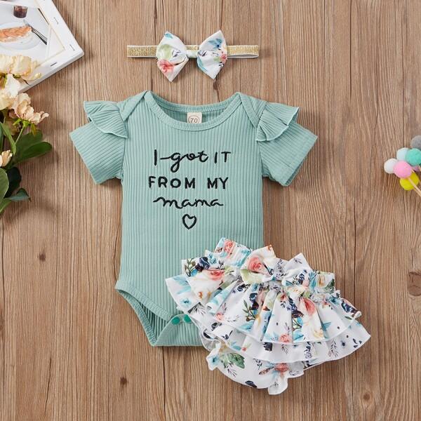 Baby Girl Slogan Graphic Ruffle Bodysuit & Floral Ruffle Skort & Headband, Mint green