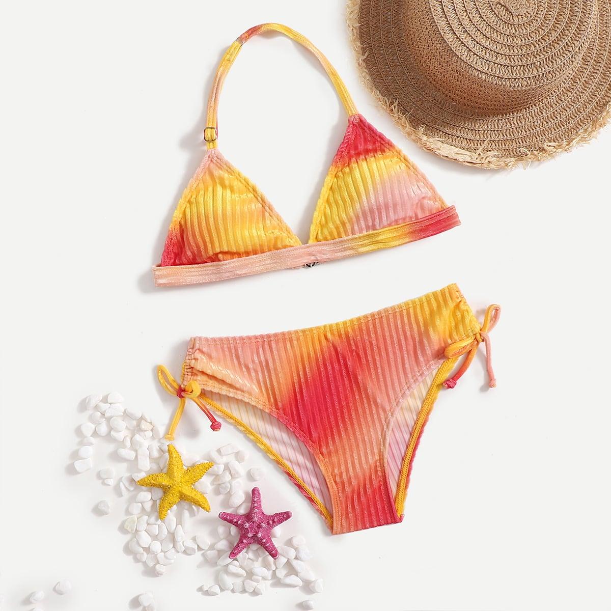 Girls Tie Dye Velvet Triangle Bikini Swimsuit