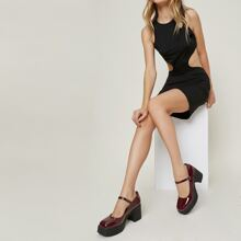 Faux Patent Leather Platform Mary Janes