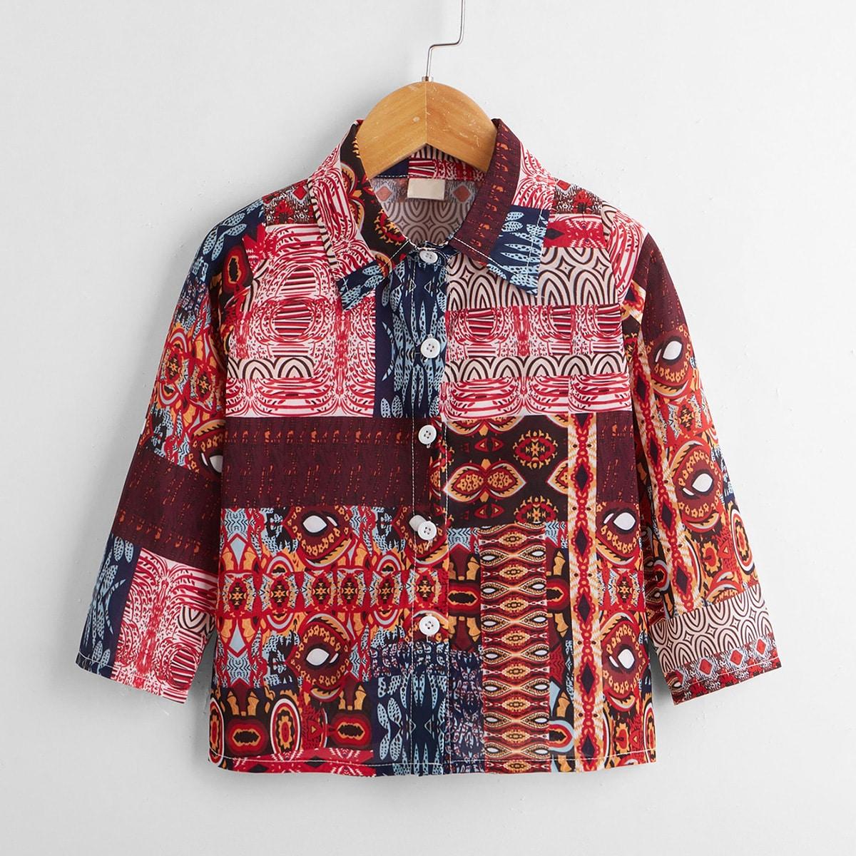 для мальчиков Рубашка с принтом на пуговицах