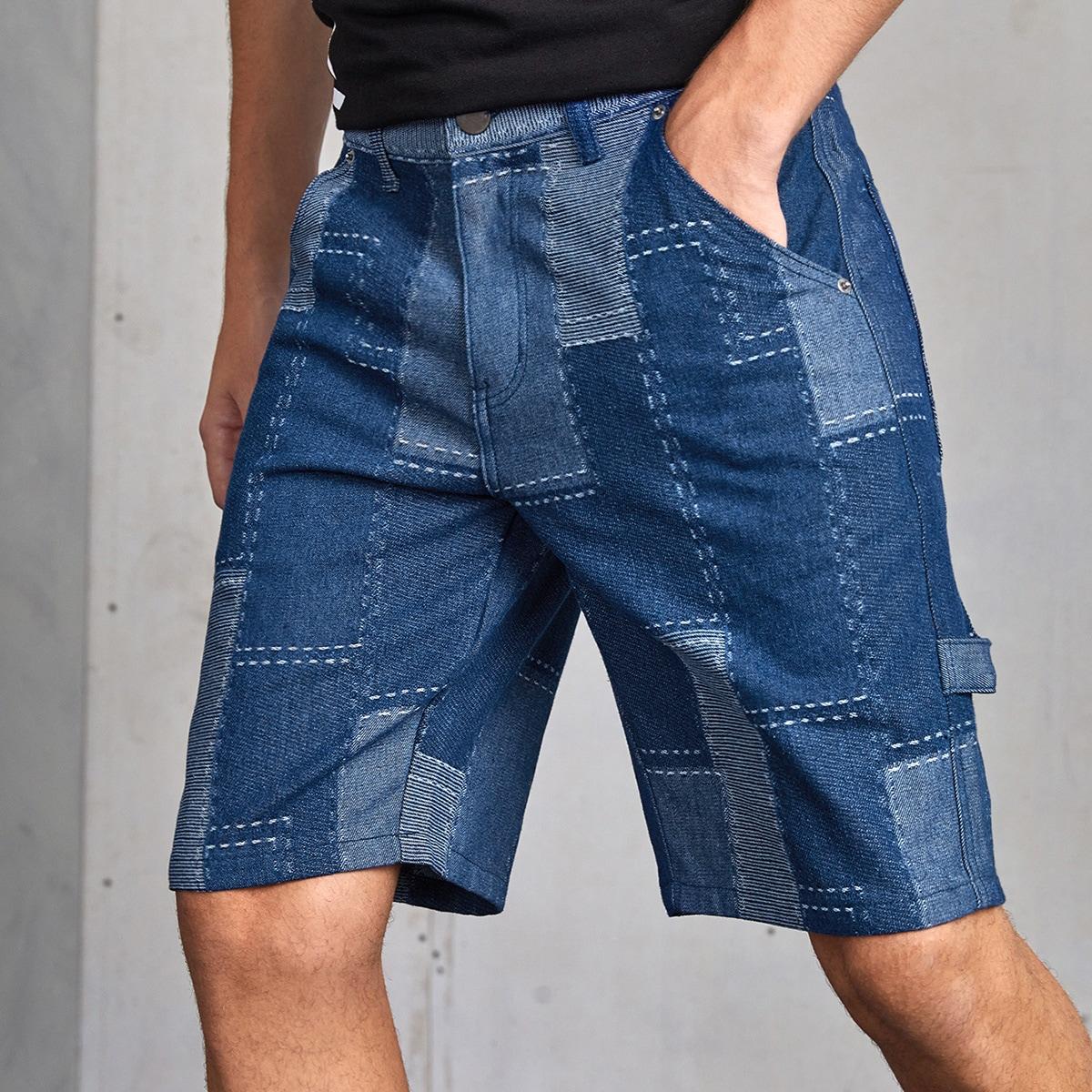 Мужской Джинсовые шорты-бермуды с карманом от SHEIN