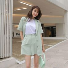 Solid Lapel Neck Blazer With Shorts