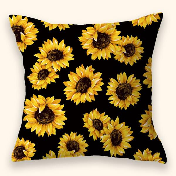 Sunflower Print Cushion Cover Without Filler, Multicolor