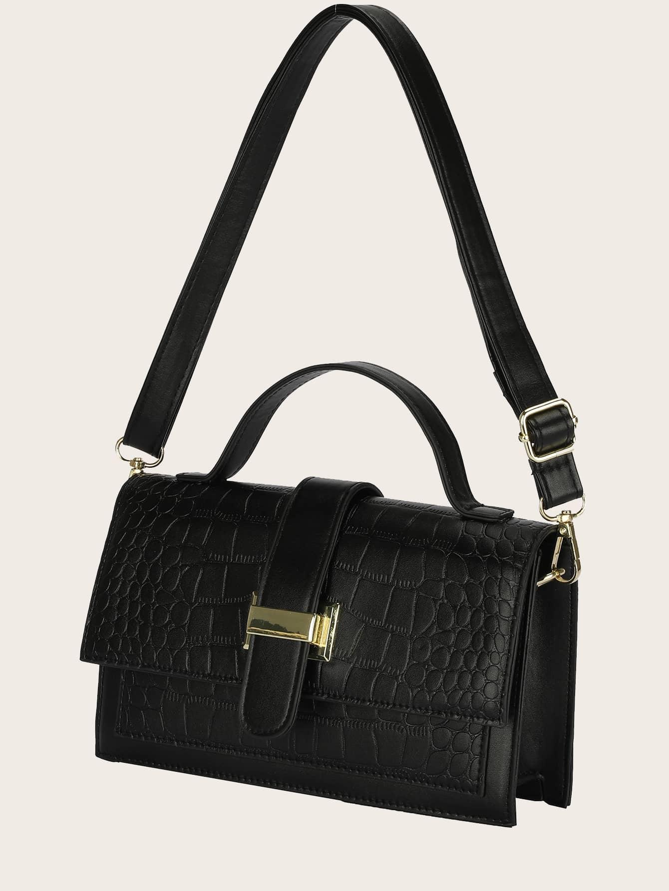 croc embossed flap satchel bag
