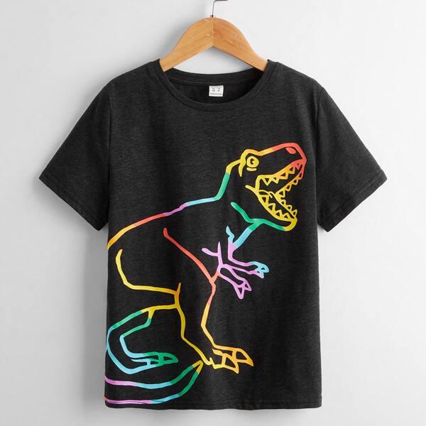 Boys Dinosaur Print Tee, Black