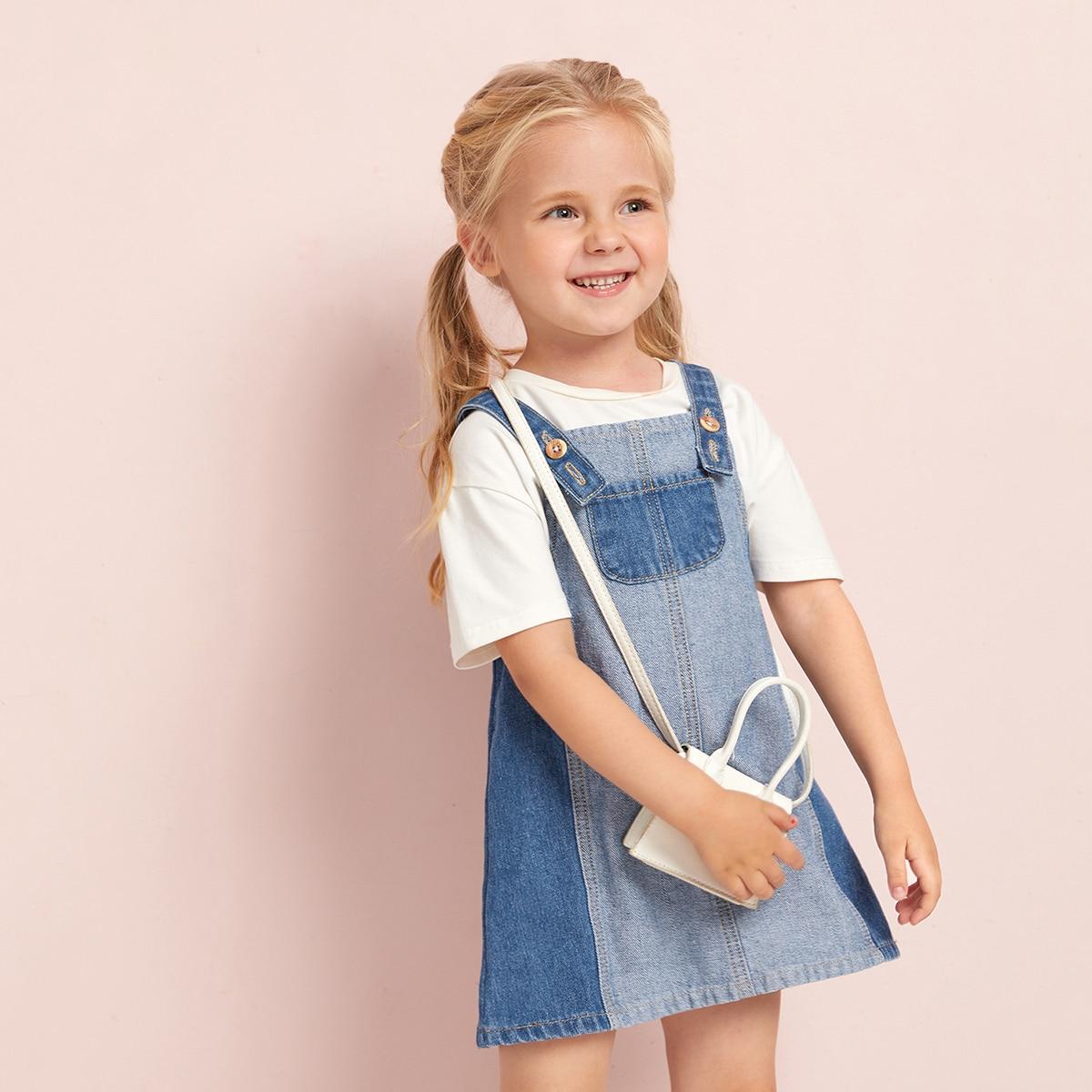 для девочек Контрастный с карманом Джинсовый комбинезон Платье SheIn skdress25210513160