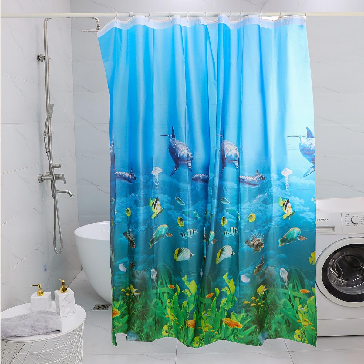 Marine Life Pattern Shower Curtain