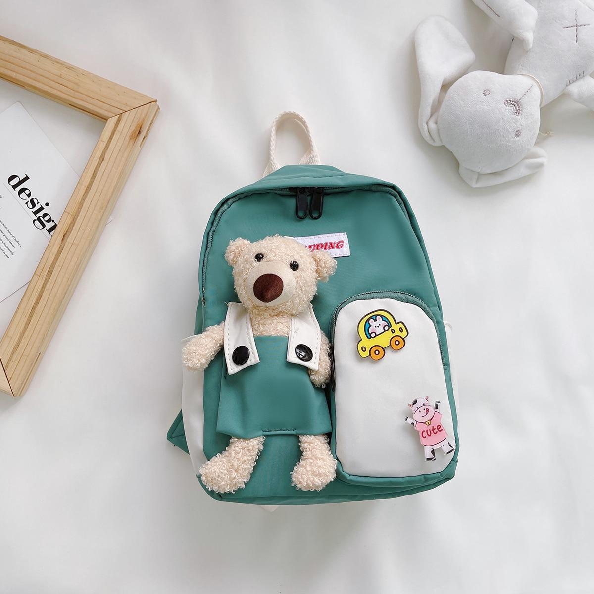 Рюкзак с карманом и медведем для мальчиков SheIn skbag18210603511