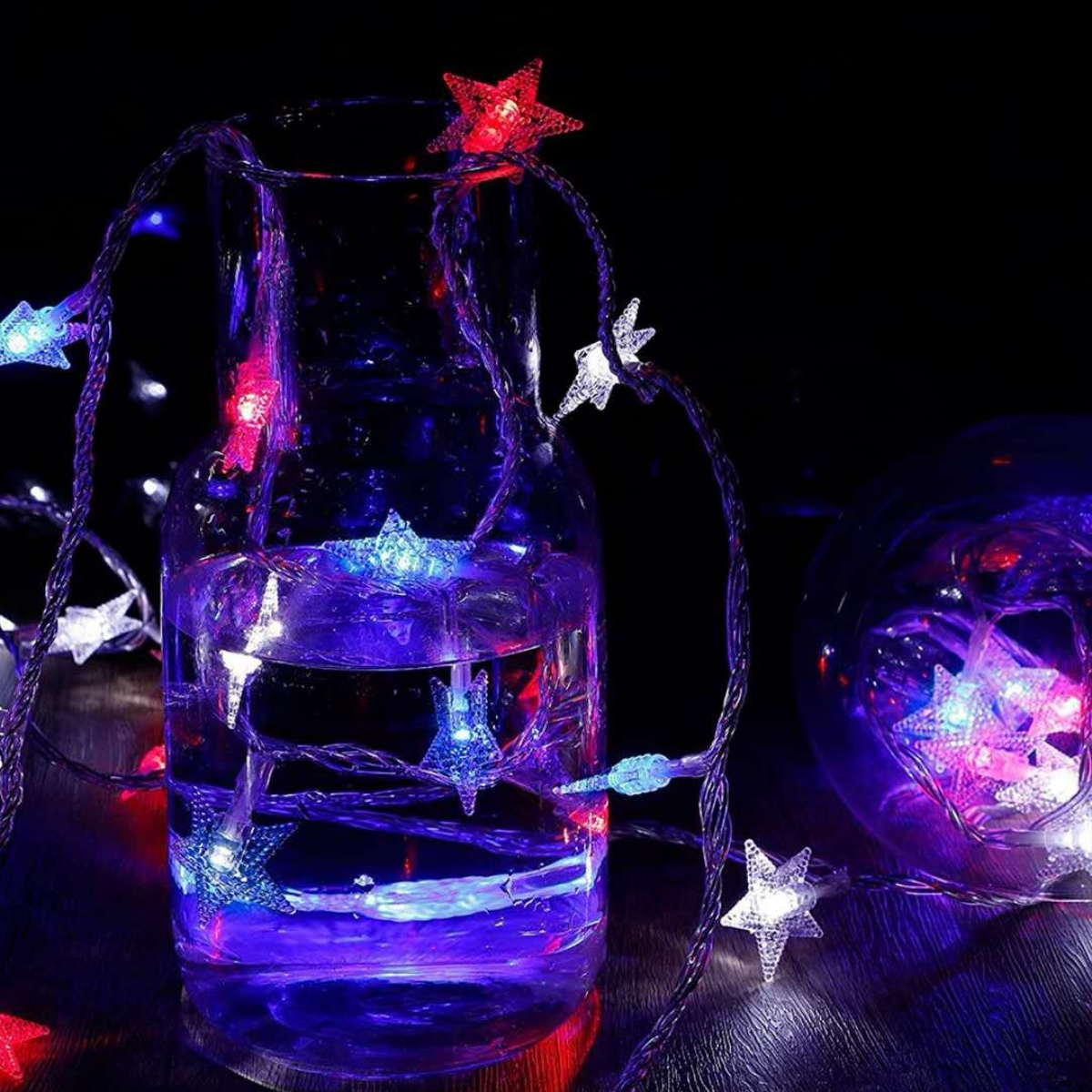 1pc Independence Day String Light With 10pcs Star Bulb