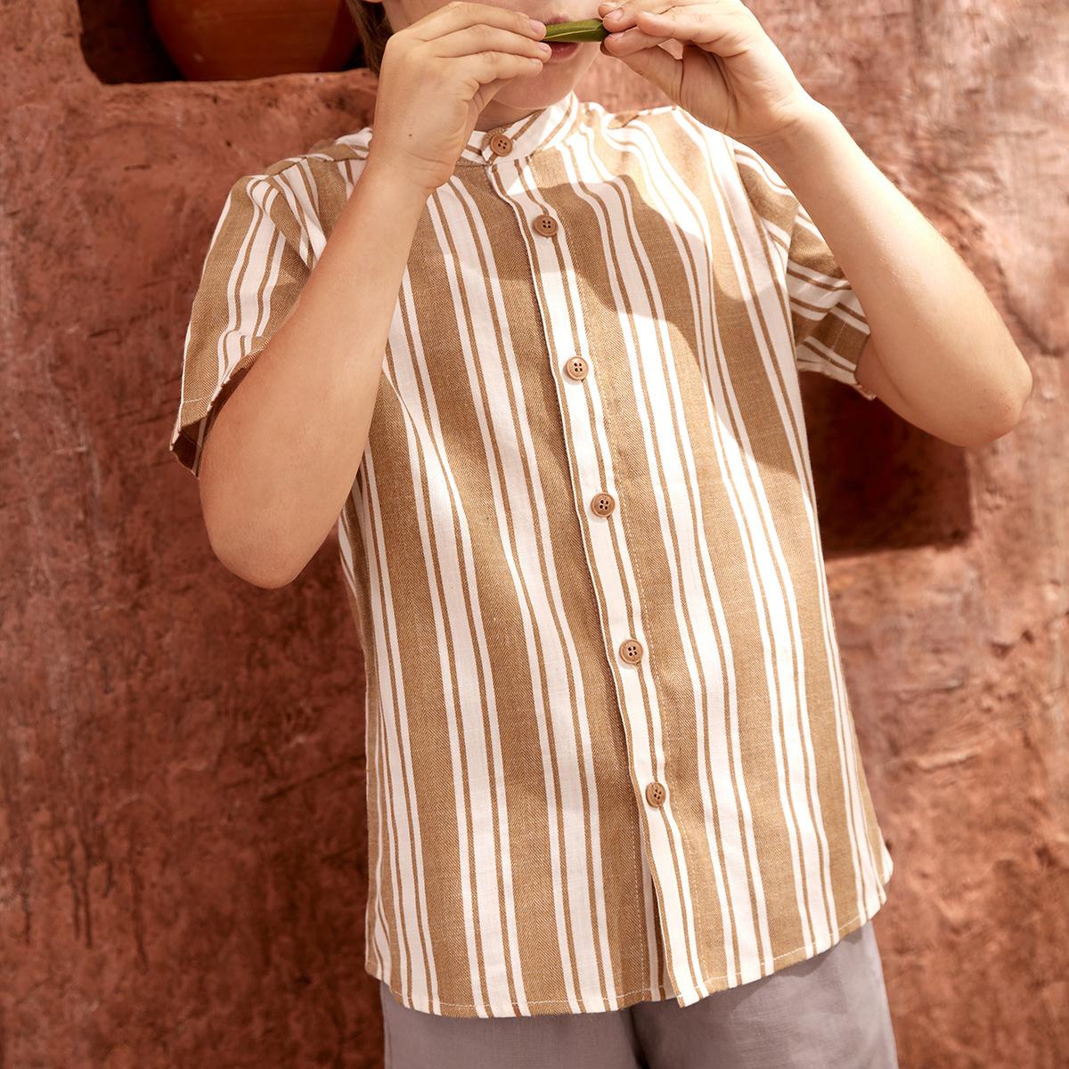 Рубашка из 30% льна в полоску с воротником-стойкой для мальчиков