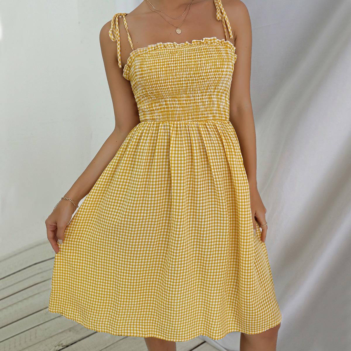 Платье на бретелях в клетку на бретелях с узлом SheIn swdress25210416266