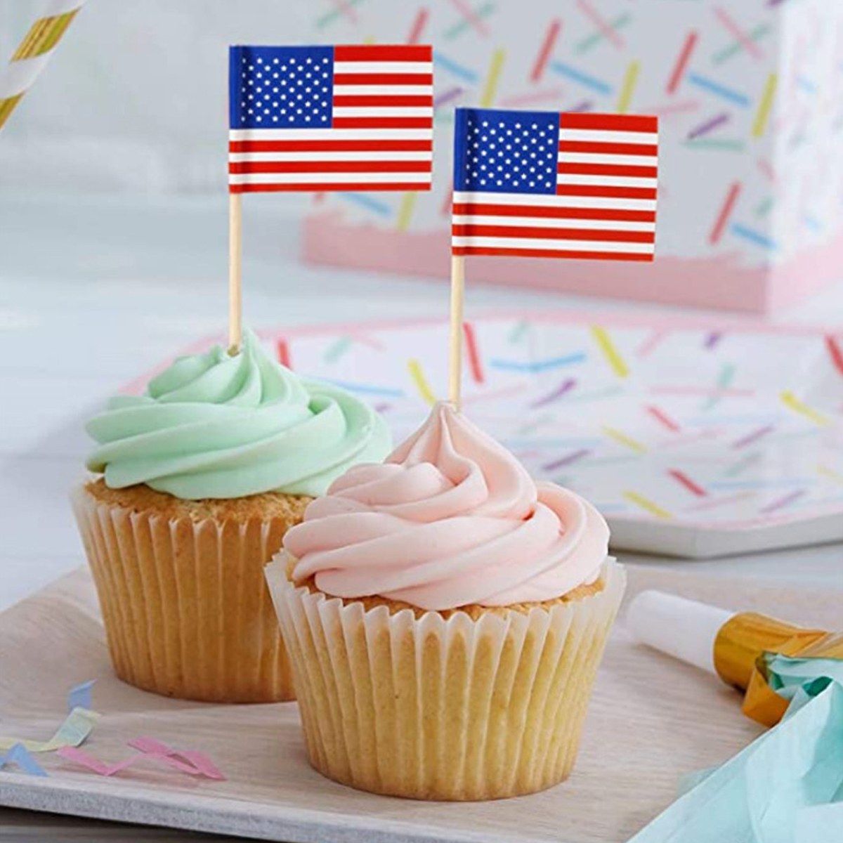 100pcs Independence Day Flag Cake Topper