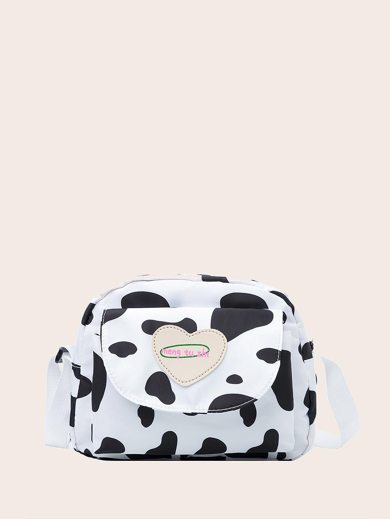 girls cow print crossbody bag