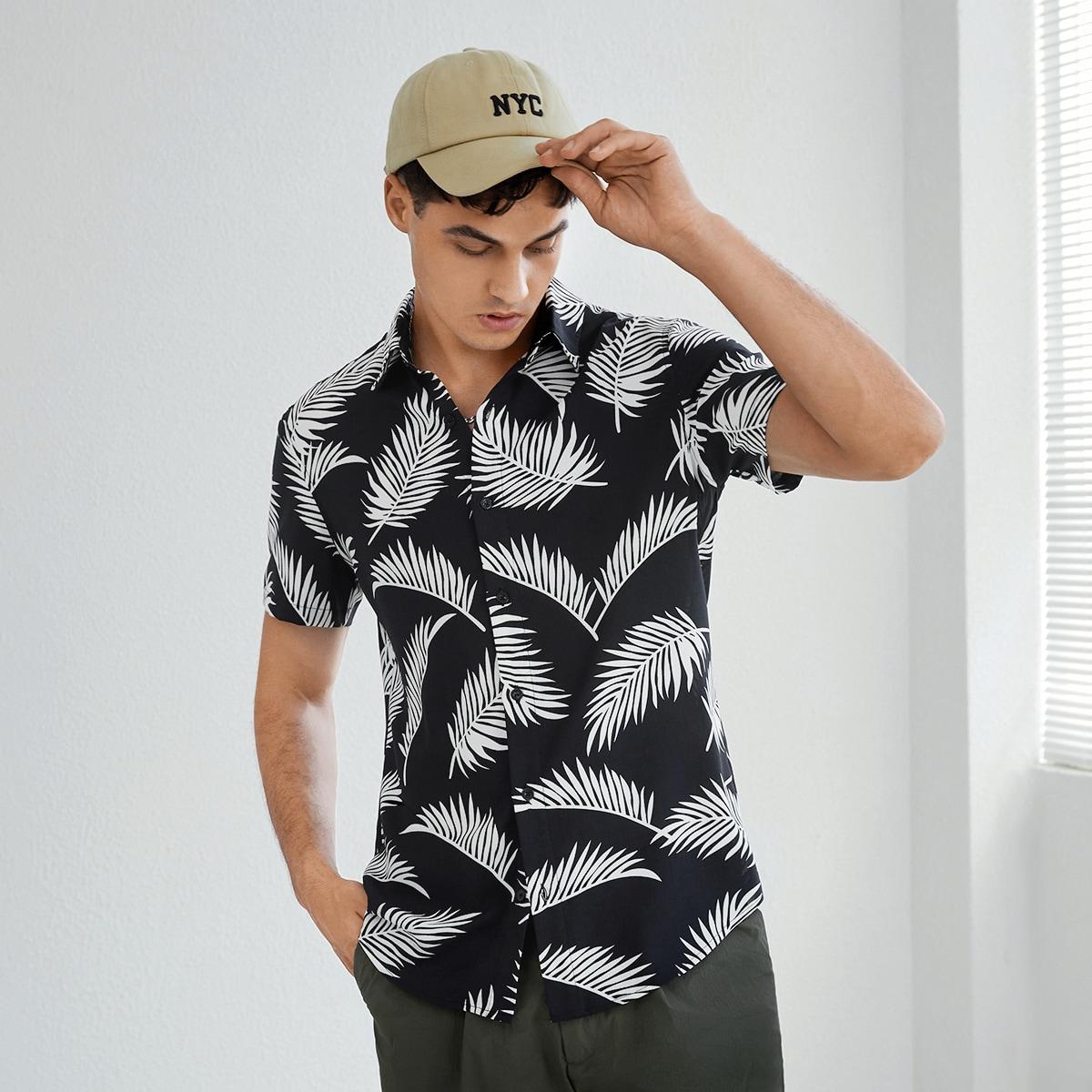 Мужская рубашка с тропическим принтом SheIn smshirt07210508646