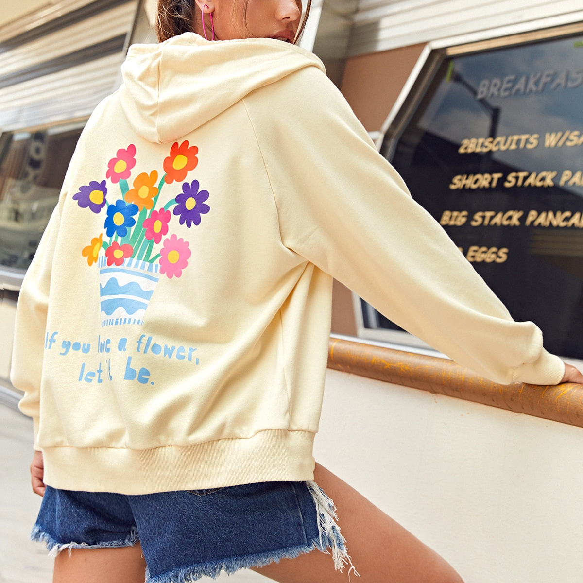 Zipper Front Floral & Slogan Graphic Sweatshirt
