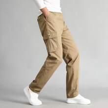 Guys Solid Pocket Side Cargo Pants