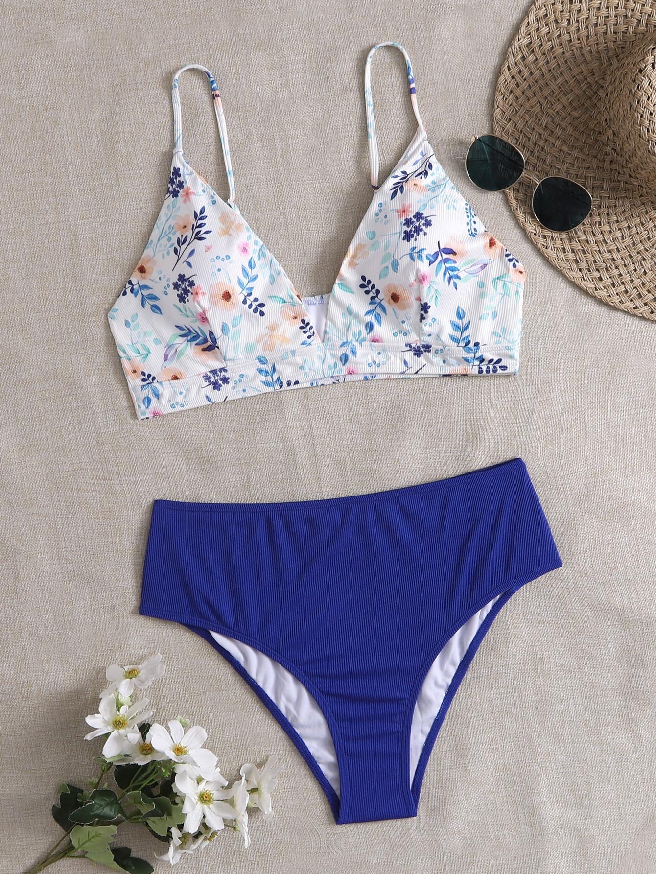 Plus Floral Print High Waisted Bikini Swimsuit