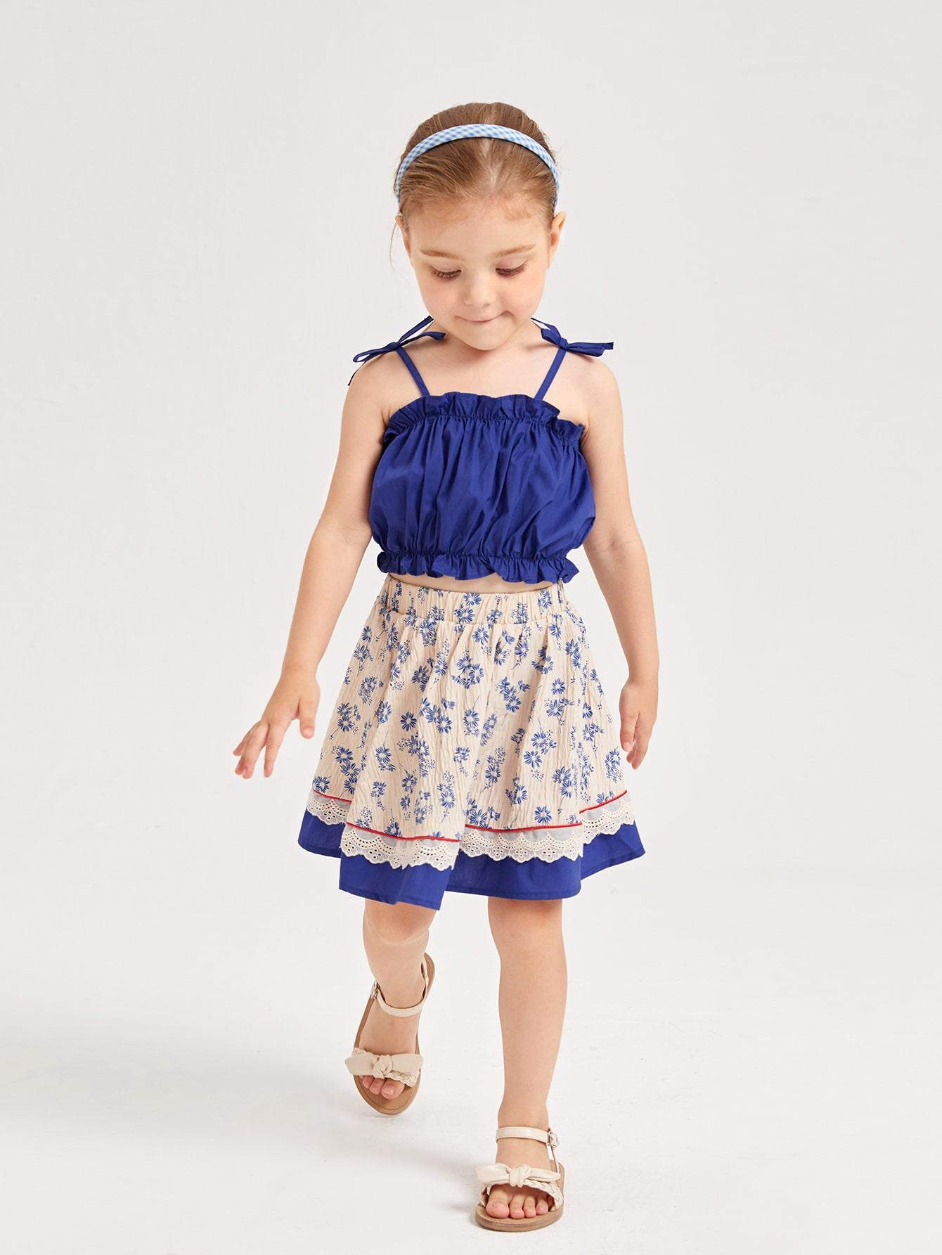 Toddler Girls Tie Shoulder Cami Top And Floral Skirt Set