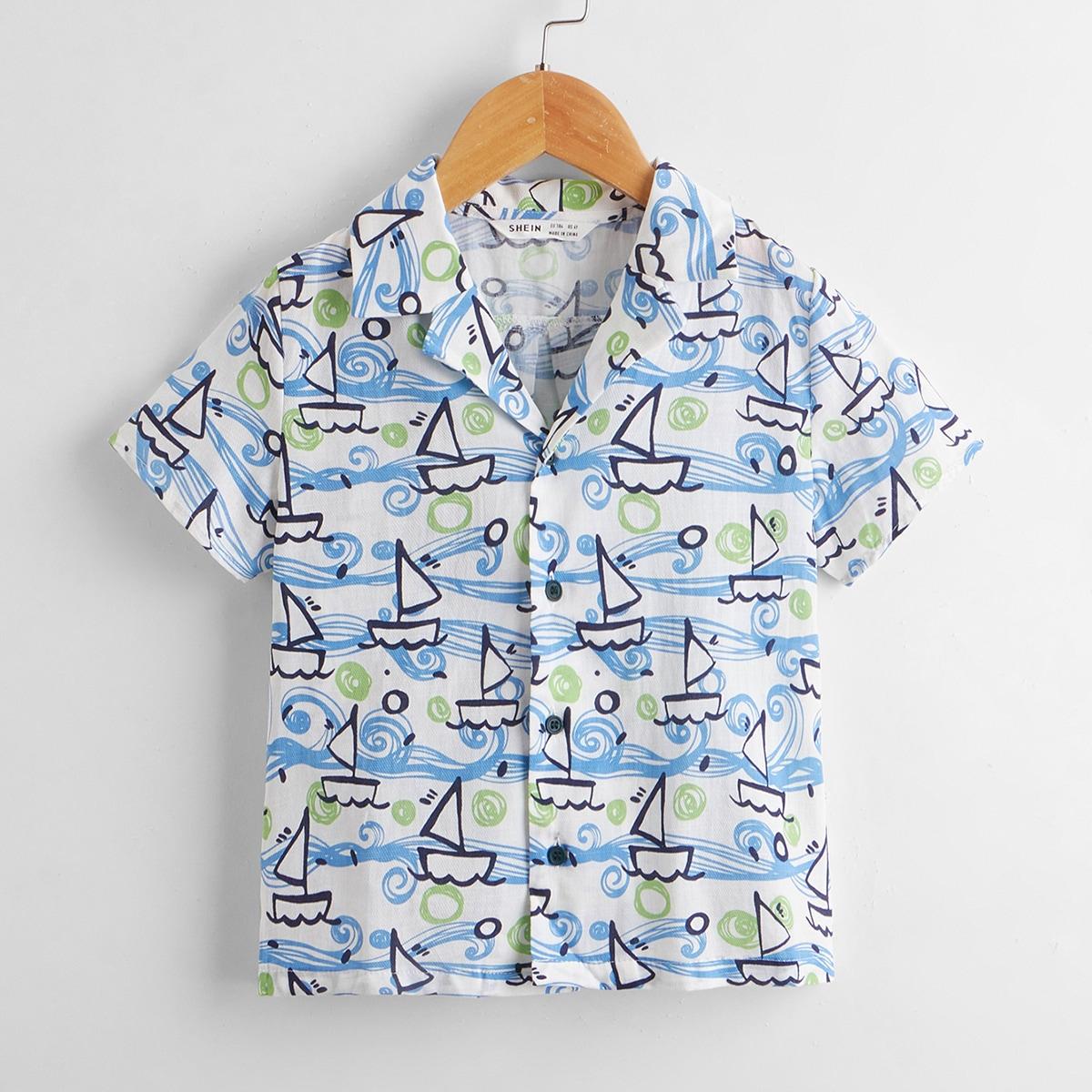 для мальчиков Рубашка лодка принтом