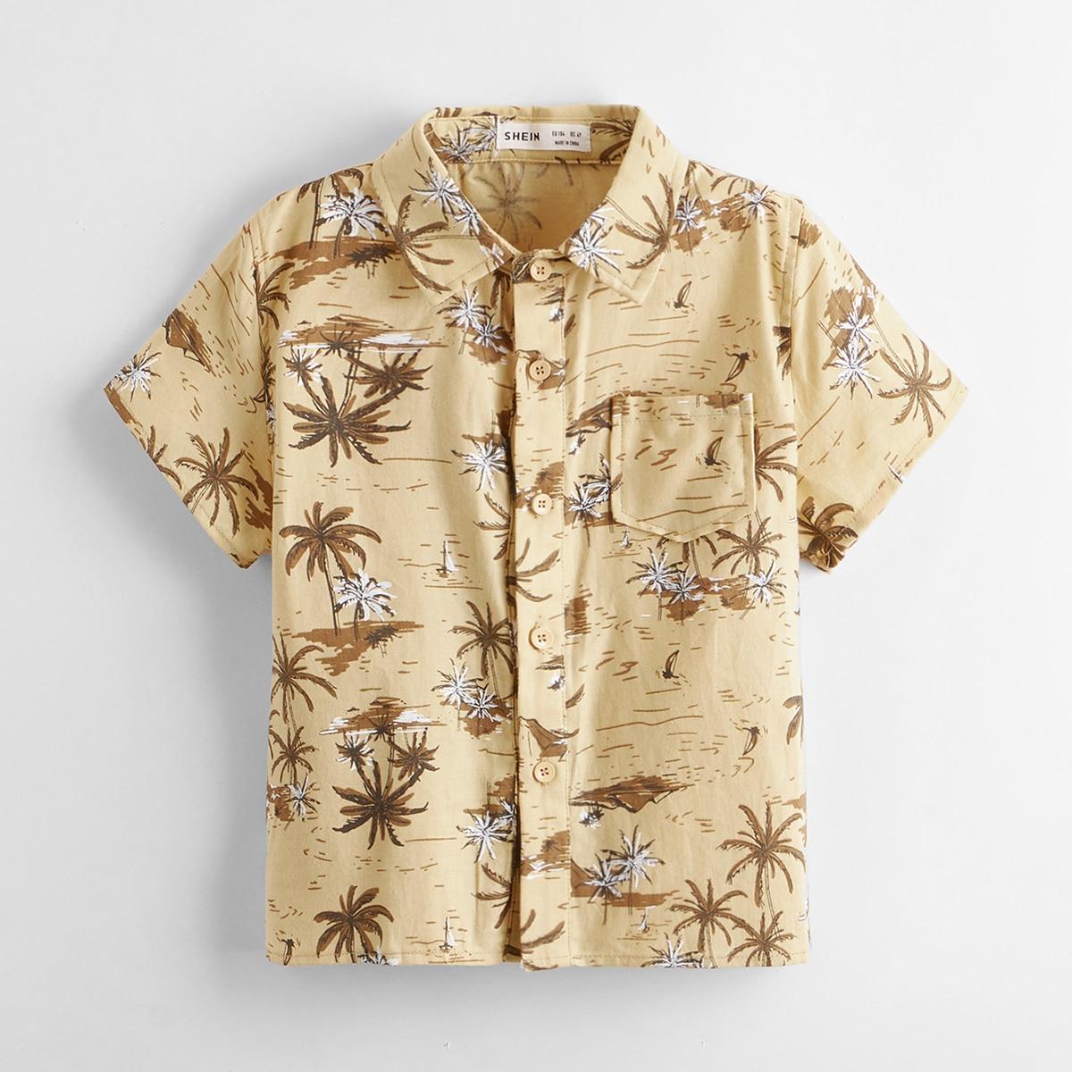 для мальчиков Рубашка с принтом кокосовой пальмы