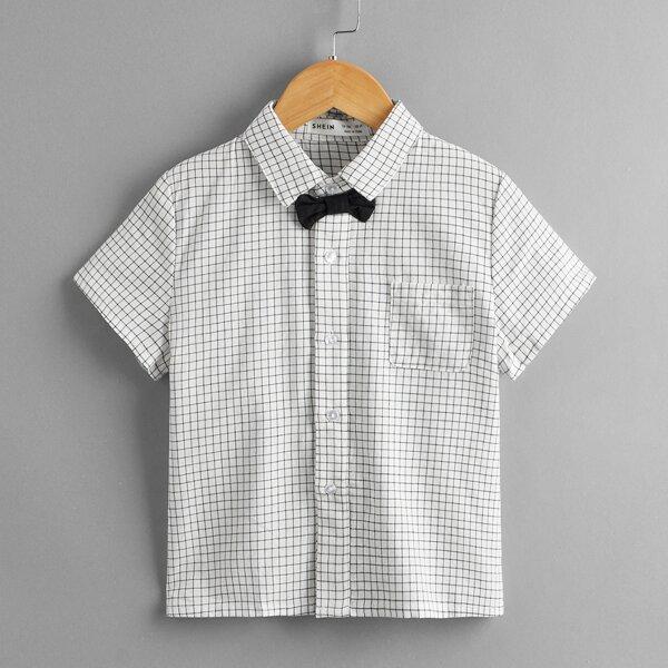 Toddler Boys Grid Print Bow Detail Shirt, White