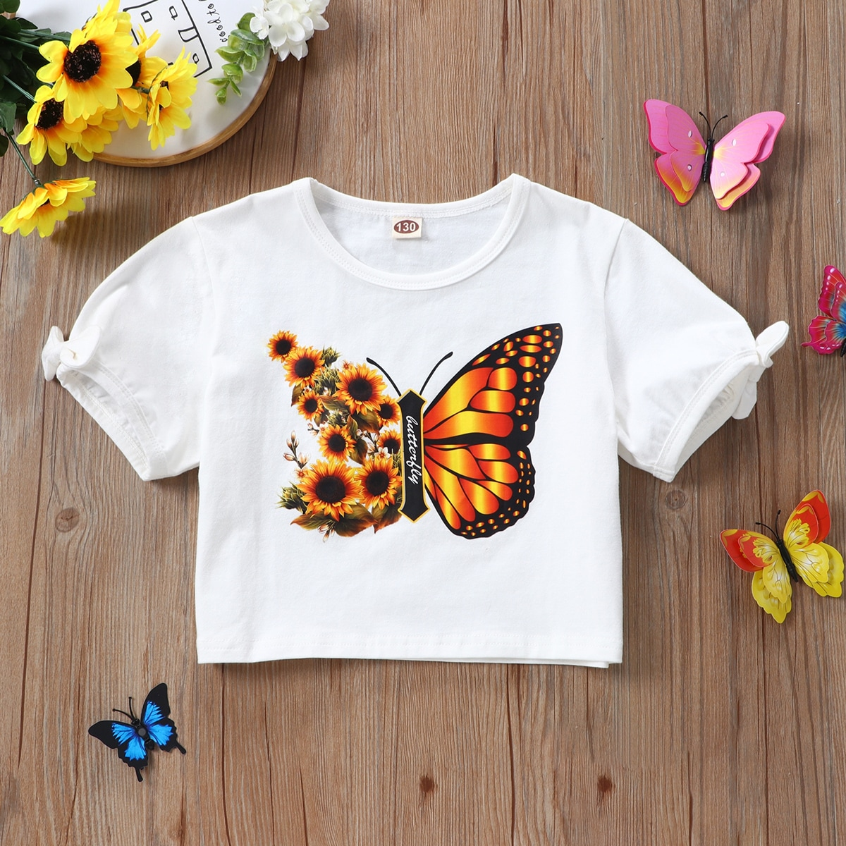Girls Butterfly & Floral Print Tee