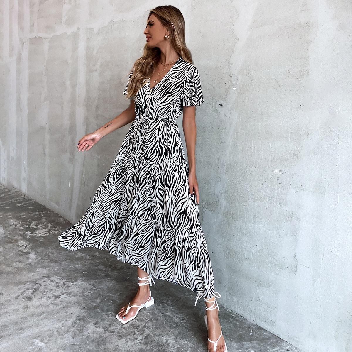 Zebra Stripe Drawstring Waist Dress, SHEIN  - buy with discount
