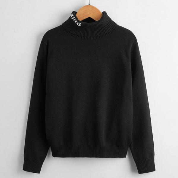 Boys Letter Pattern Turtleneck Sweater, Black