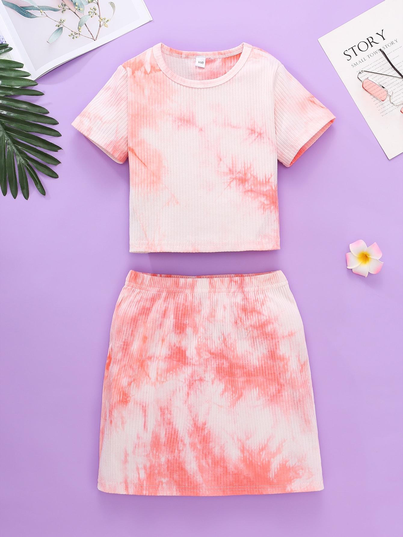 Toddler Girls Tie Dye Tee With Skirt
