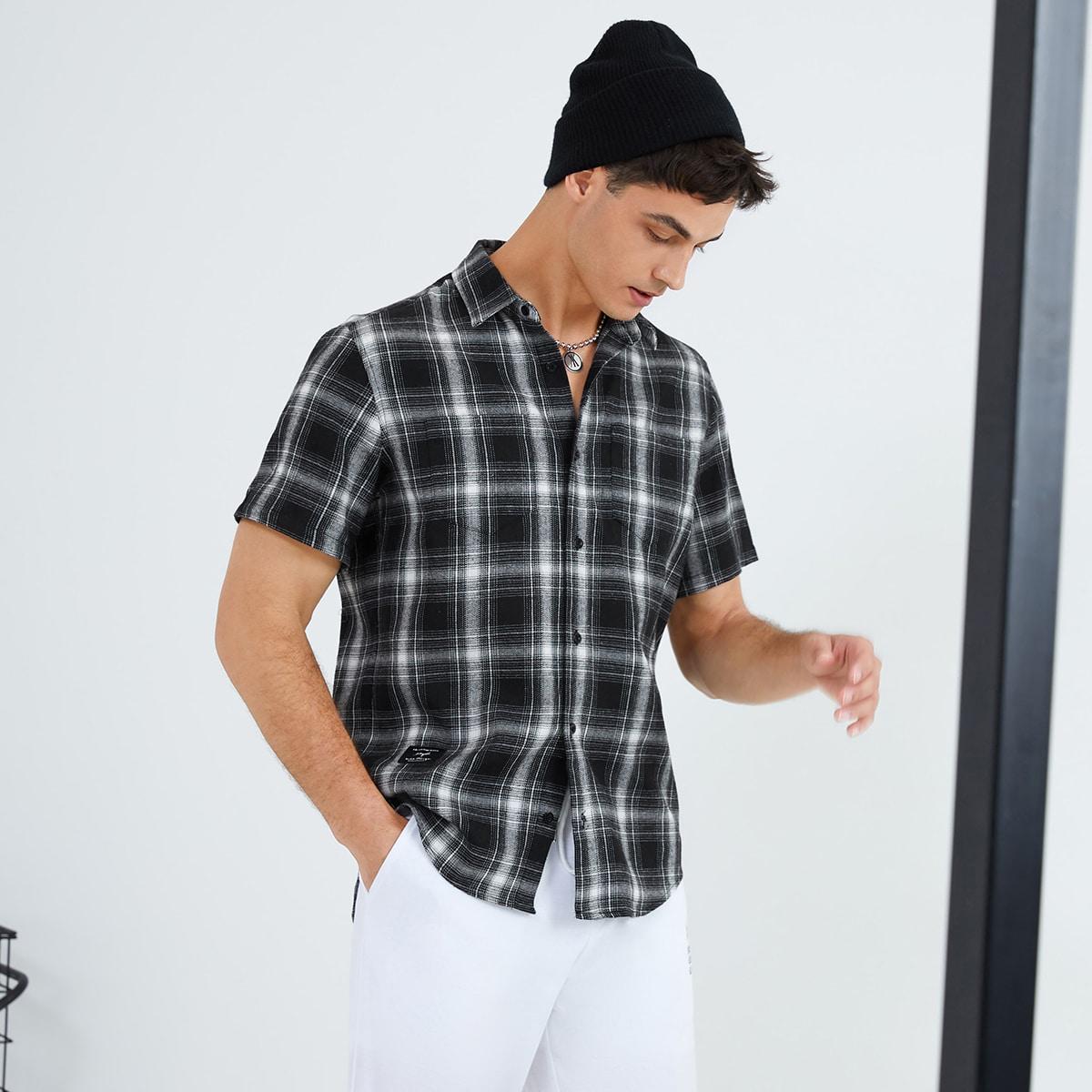 Мужской Рубашка в клетку на пуговицах SheIn smshirt07210508162