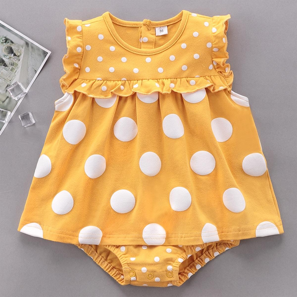 для девочек в горошек Составной комплект Боди Платье от SHEIN