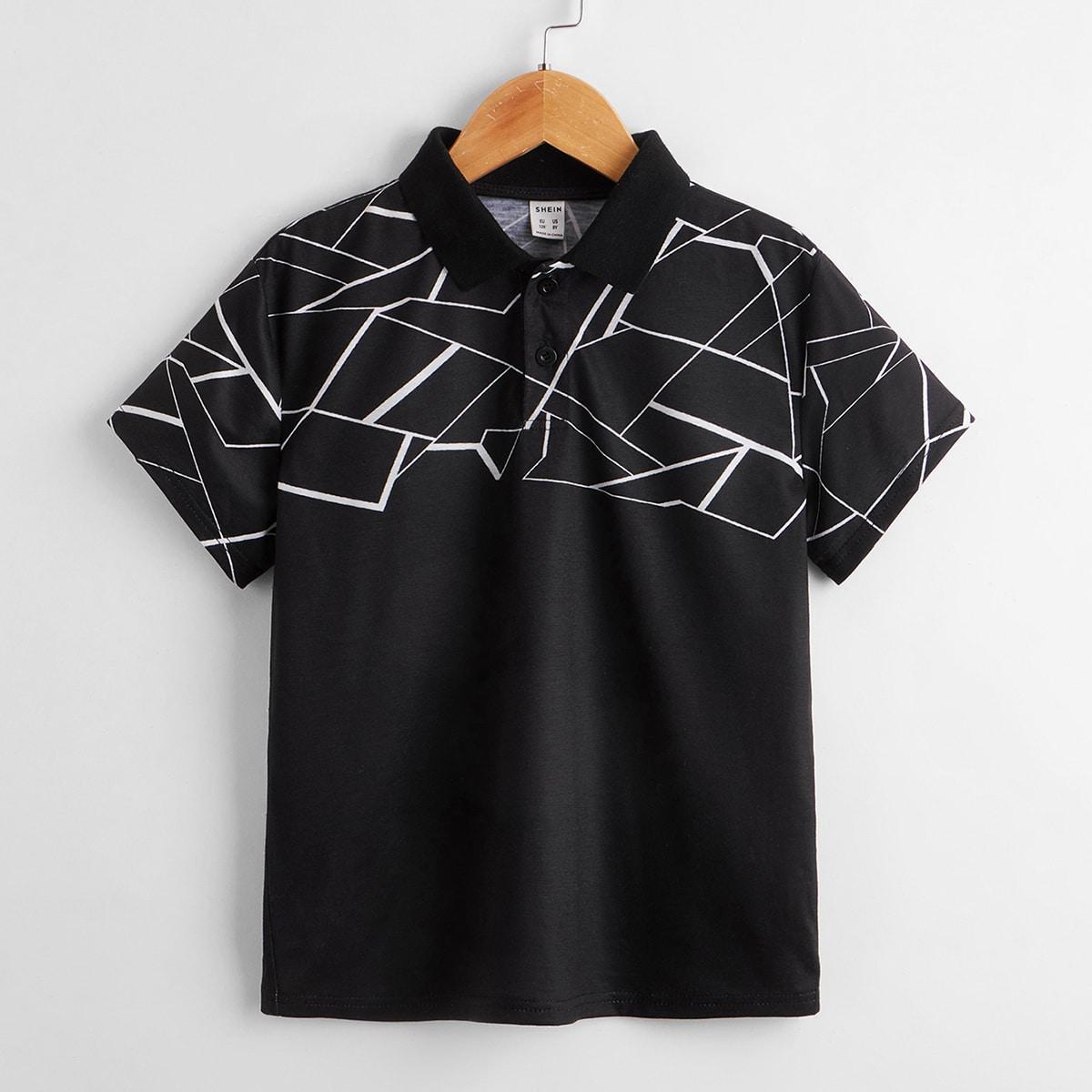 Boys Geo Print Polo Shirt