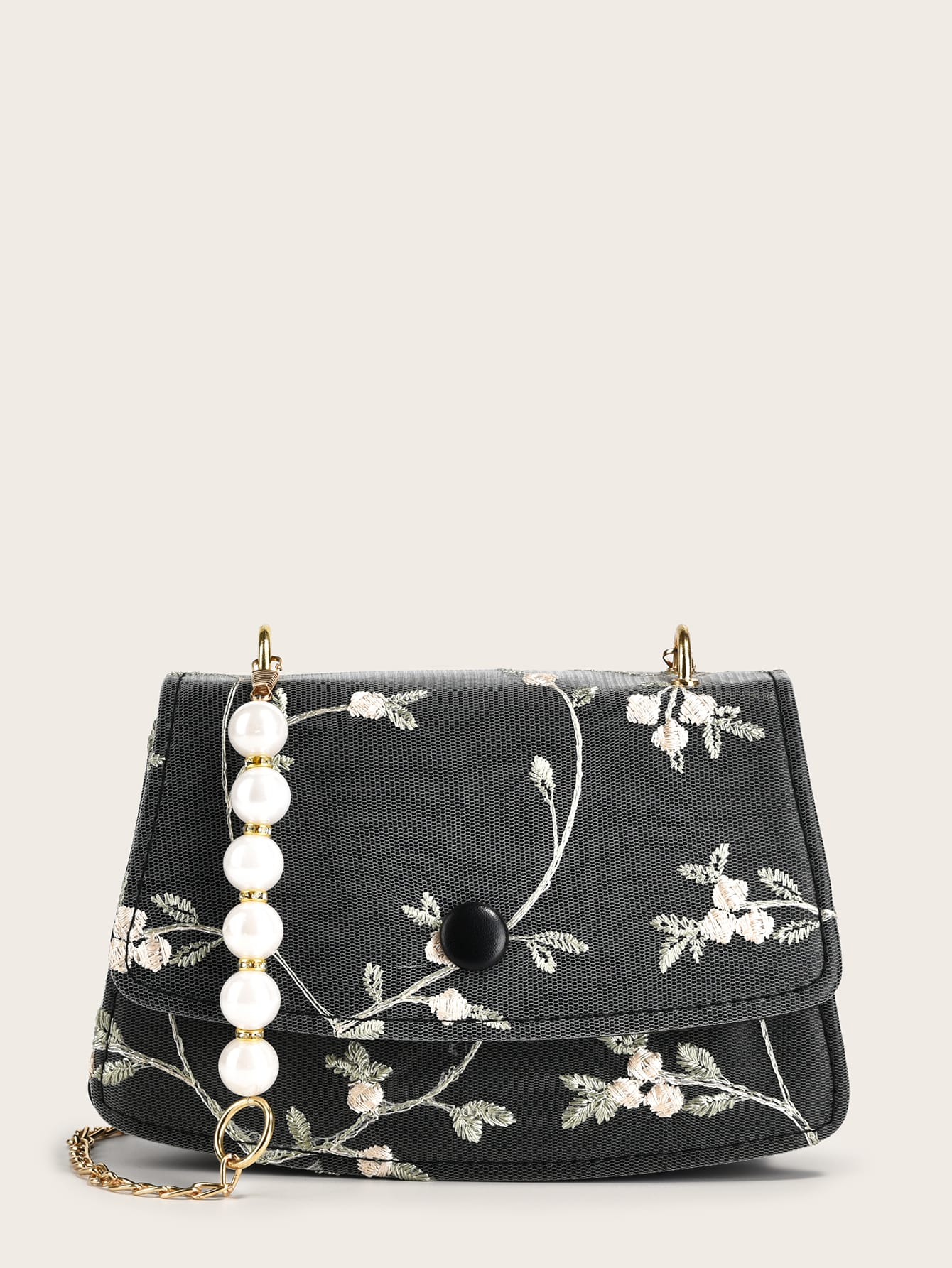 floral embroidery chain crossbody bag