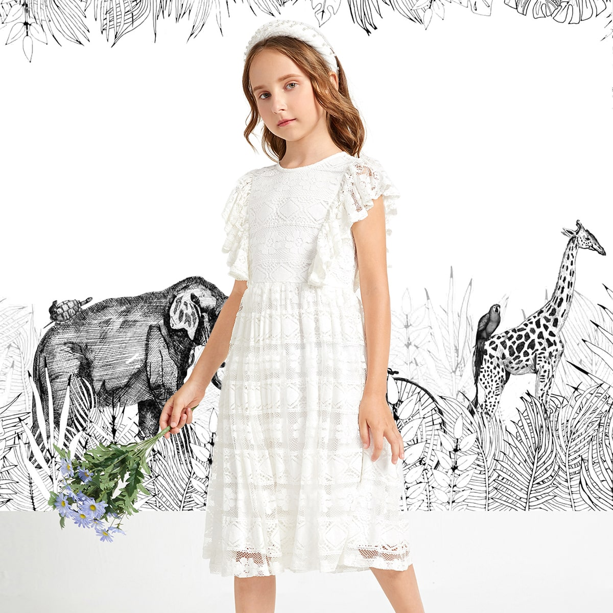 Girls Butterfly Sleeve Lace Dress, SHEIN  - buy with discount