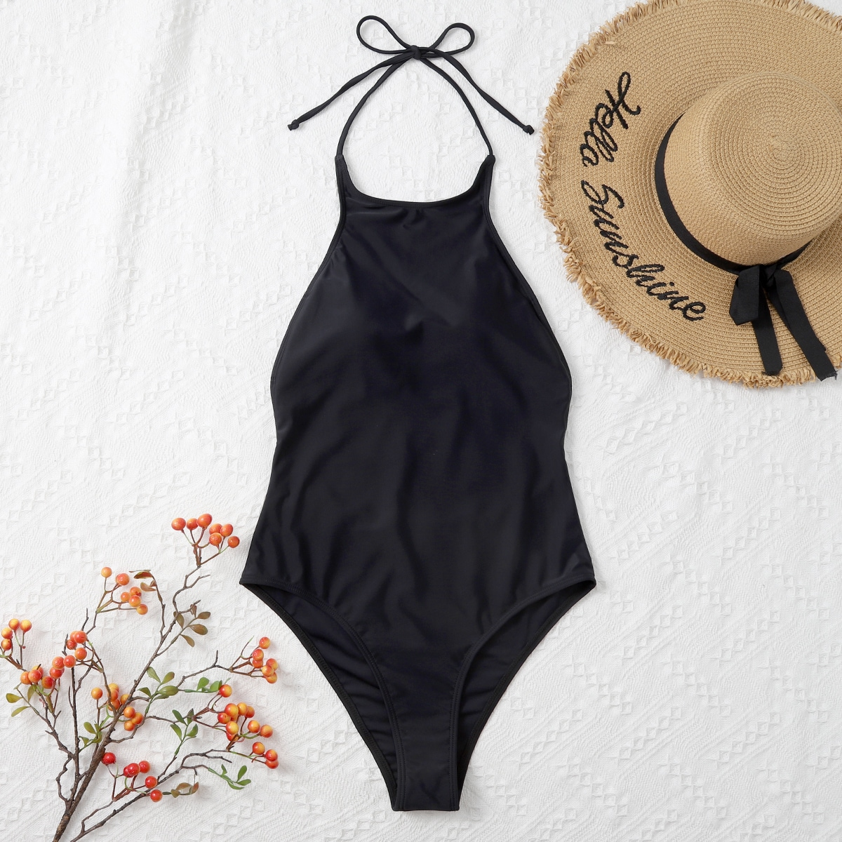 Plain Backless Halter One Piece Swimsuit