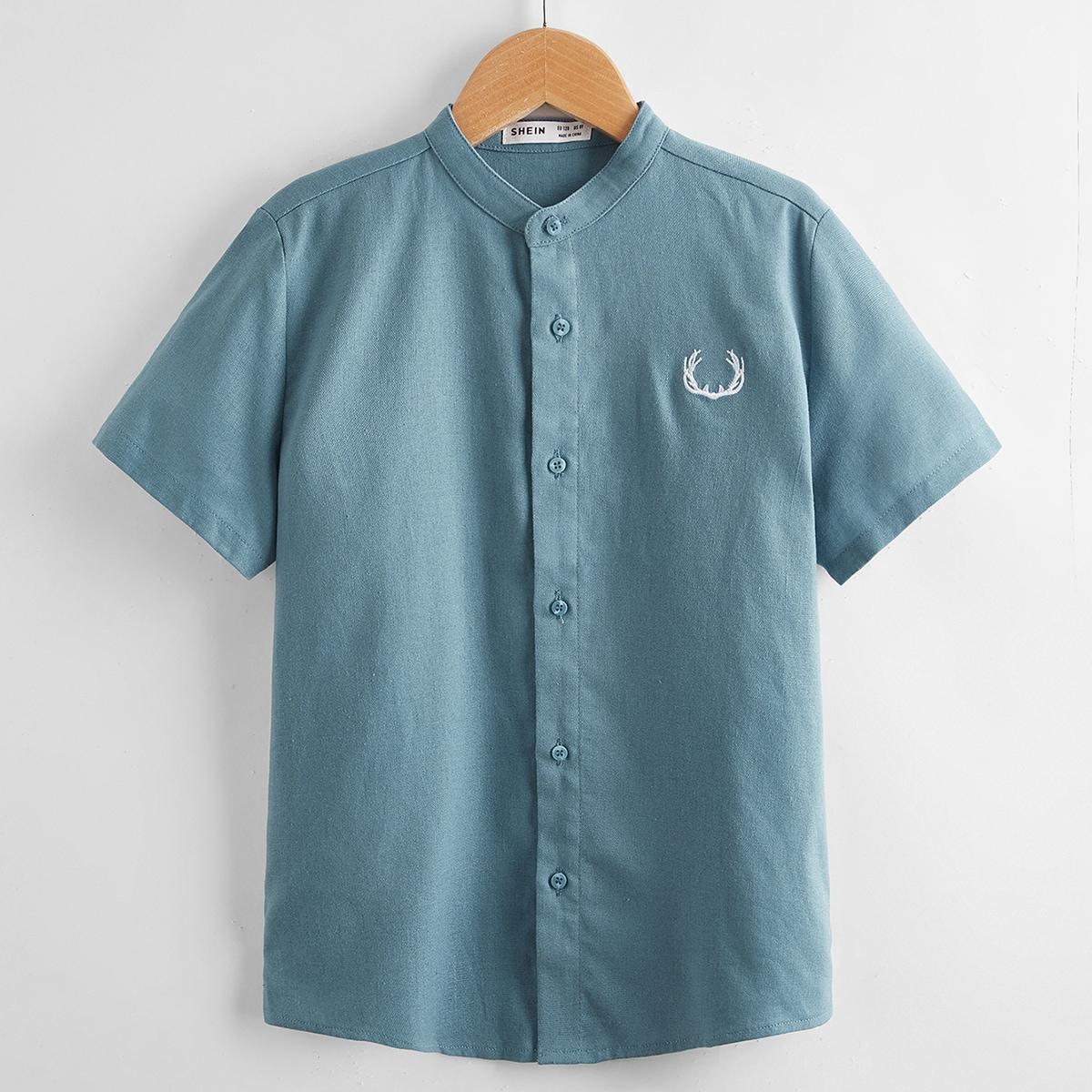 с вышивкой Пуговица графический принт Повседневный Рубашки для мальчиков