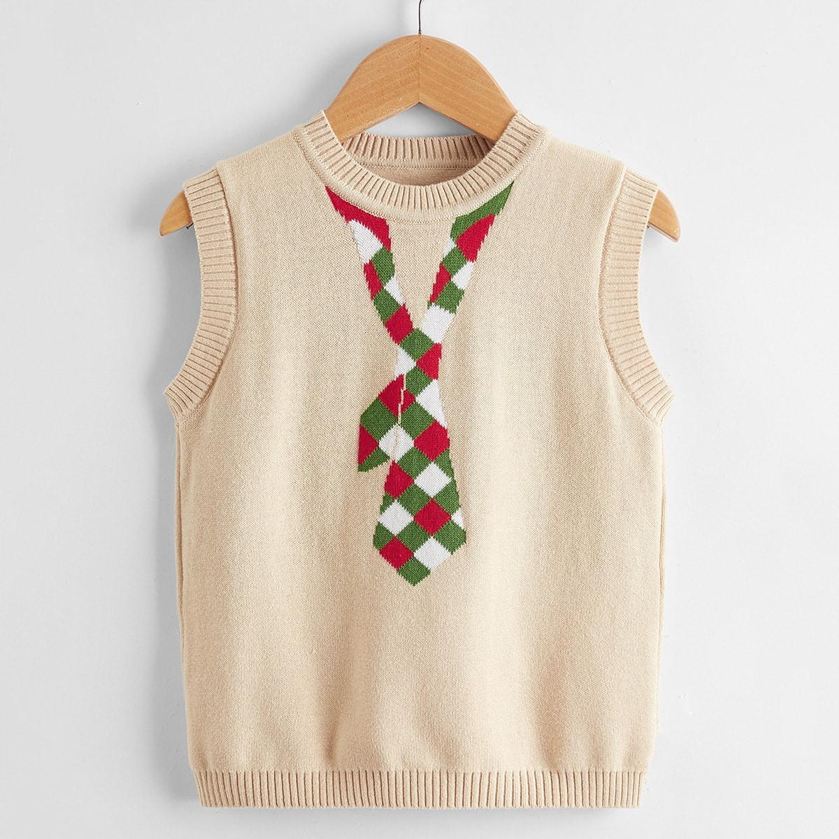 Детский Вязаный жилет узлом с рисунком SheIn sksweater25210507155