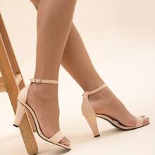 Two Part Ankle Strap Chunky Sandals